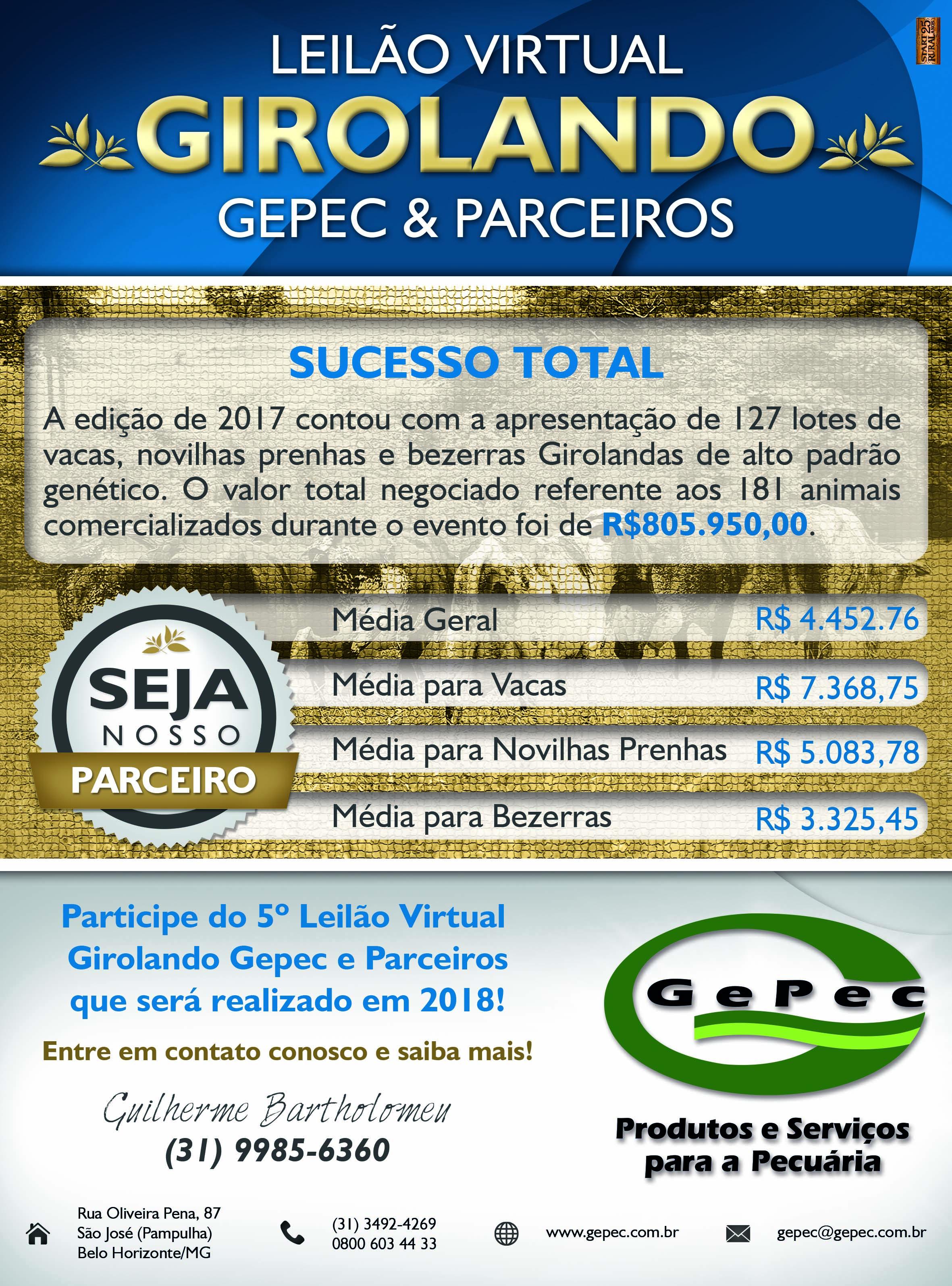 Leilão Gepec 2018! Participe!